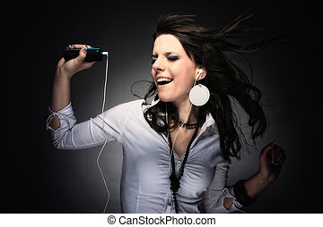 Beautiful Girl and music - Beautiful Girl listening music...