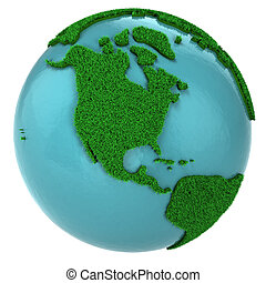 Globe of grass and water, North America part, isolated on...