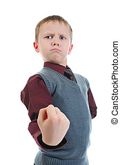 little bully threatens fist. Isolated on white background