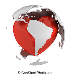 Globe with heart, South America part