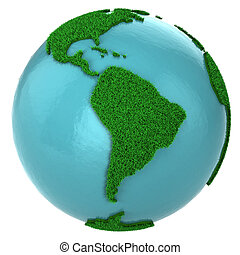 Globe of grass and water, South America part