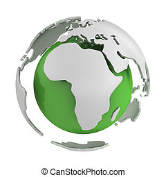 Abstract green globe, Africa part