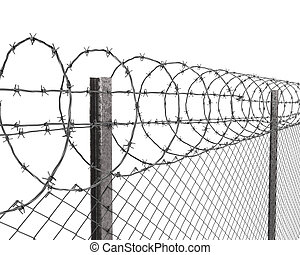 Chainlink fence with barbed wire on top closeup isolated on...