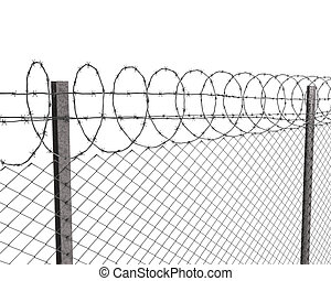 Chainlink fence with barbed wire on top isolated on white...