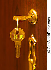 Golden key Home - abstract concept background