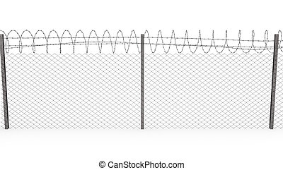 Chainlink fence with barbed wire on top, front view -...