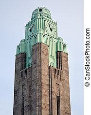 Clock Tower by Train Station in Helsinki