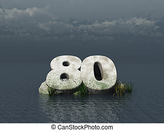 eighty - the number eighty at the ocean - 3d illustration