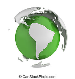Abstract green globe, South America part, isolated on white...
