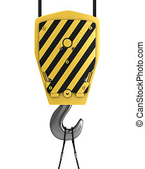 Yellow crane hook, front view, isolated on white background