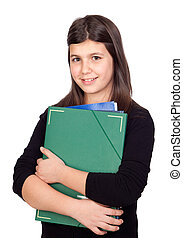 Student girl with green folder isolated on white background