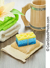 objects for bathing on wooden background