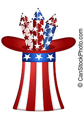 Uncle Sam Hat with Fireworks - Uncle Sam Hat with Red White...