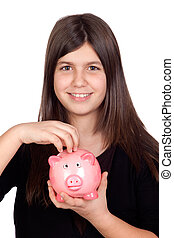 Adorable preteen girl with a piggy-bank isolated on white...
