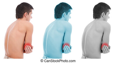 Elbow pain collage - Young man holding his elbow, having...