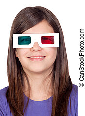 Preteen girl with three-dimensional glasses isolated on...