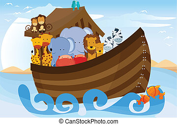 Noahs Ark - A vector illustration of different wildlife...
