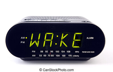 Clock Radio with the word WAKE - A Clock radio with the word...