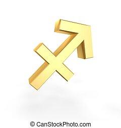 golden sagittarius symbol of zodiac isolated on white...
