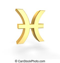 golden pisces symbol of zodiac isolated on white background