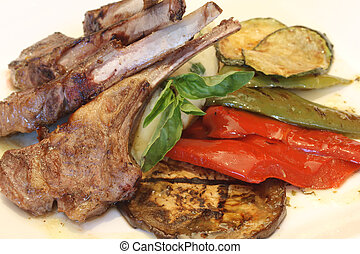 Lamb Chops - A close up of a lamp chop meal