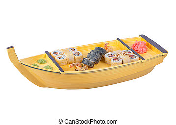 wooden ship - japanese cuisine of wooden ship with various...