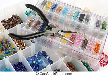 Beads for Jewelry Making - An organizer full of multi...