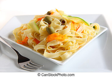 Tagliatelle with veg ribbons - A bowl of tagliatelle with...