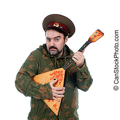 Russian soldier with balalaika isolated on white background