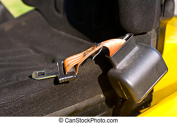 Safety belt of a forklift - Safety belt is laying on the...
