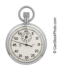 Stop-watch on a white background. The image contains a...