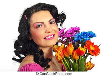 春, 作りなさい, 女, の上, 創造的