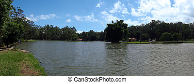 Pond in National Park in San Jose, Costa Rica - Wide-shot of...