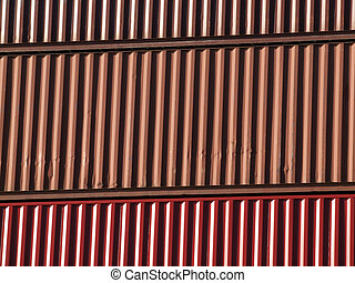 Close-up of Shipping containers stacked on top of each other...