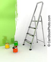 階段, 色, 上に, 背景, 白, 開いた