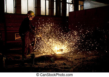 Industrial worker during a welding process