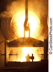 Smelting furnace during process