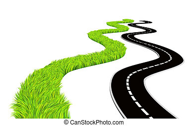 Two roads - bright green grass and asphalted Isolated over...