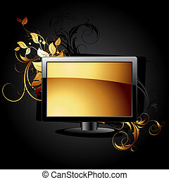 web icon LCD panel with floral elements, this illustration...