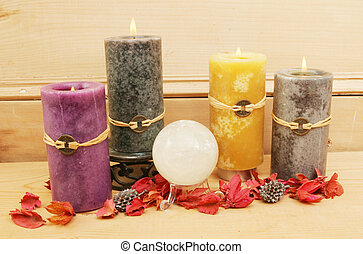 Feng Shui candles and a crystal ball