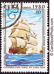 Canceled Cuba Postage Stamp Sant?sima Trinidad Ship of the...