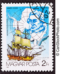 Canceled Hungarian Postage Stamp Explorer James Cook...