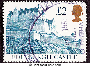 Cancelled Postage Stamp Edinburgh Castle, Scotland Hilltop...