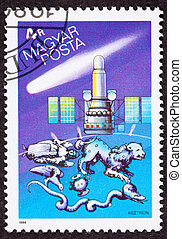 Hungarian postage stamp commemorating the USSR's Astron UV...