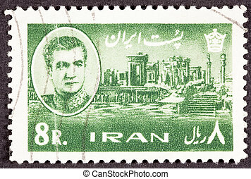 Canceled Iranian Postage Stamp Shah, and the palace started...