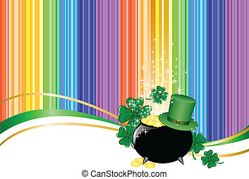 rainbow background with leprechaun hat and a jar -...