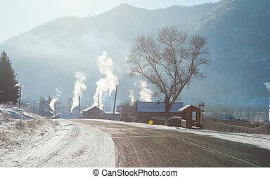 Siberian village frosty morning in winter