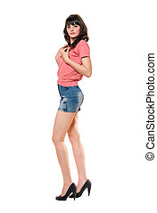 Lovely girl in jeans mini skirt Isolated