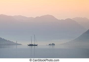 Epic morning in Boka Kotorska bay - Morning atmosphere in...