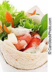 envolver, camarones, vegetal